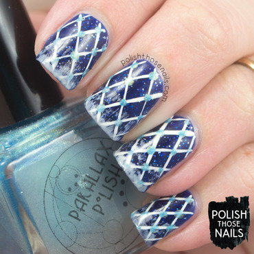 Blue silver glitter plaid polka dot distressed nail art 4 thumb370f