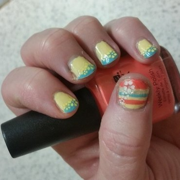 Stripes and flowers nail art by Jill Thompson