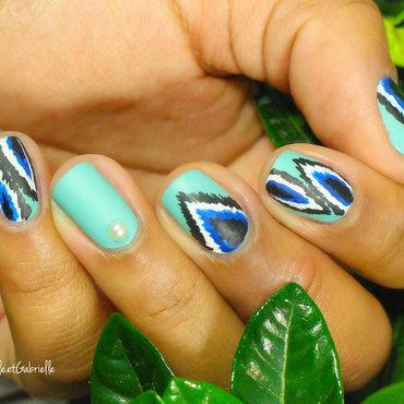 Ikat Print Nail Art!  nail art by Gabrielle