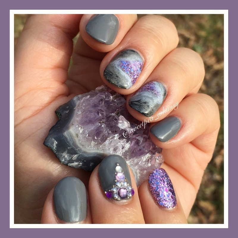 💜 Purple Amethyst Geode on Rock Gray nail art by SweetPea_Whimsy