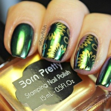 Golden Blossom nail art by Kay's Polish