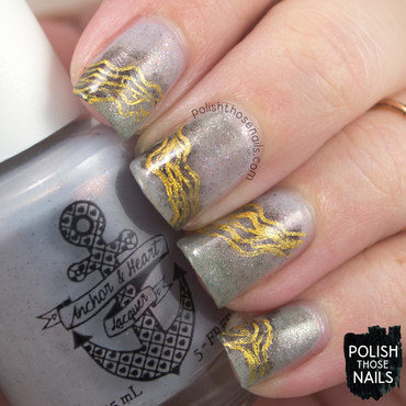 Grey shimmer abstract gold line nail art 4 thumb370f