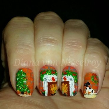 Christmas by the fire  nail art by Diana van Nisselroy