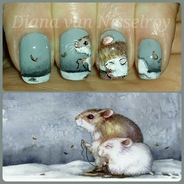 Cute rodents nail art by Diana van Nisselroy