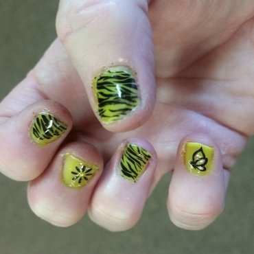 Neon Yellow Zebra nail art by Jill Thompson