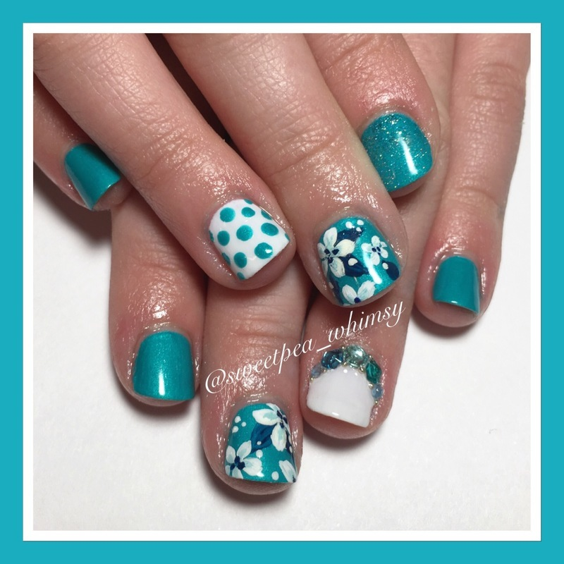 🐬 Turquoise & White Floral Kids Mani nail art by SweetPea_Whimsy