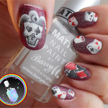 Freehand Skull Joker * Playing Cards nail art by Ithfifi Williams