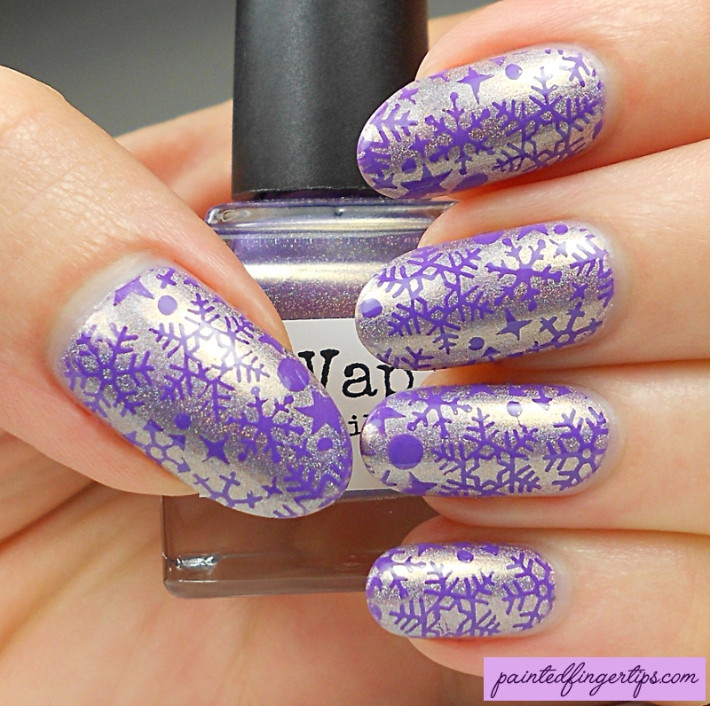 Purple snowflakes nail art by Kerry_Fingertips