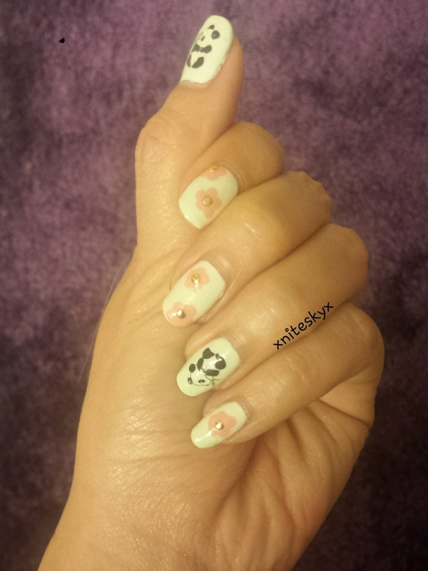 pandas and flowers nail art by xniteskyx