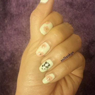 pandas and flowers nail art by xniteskyx