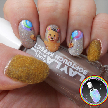 Fuzzy Birthday Bear nail art by Ithfifi Williams