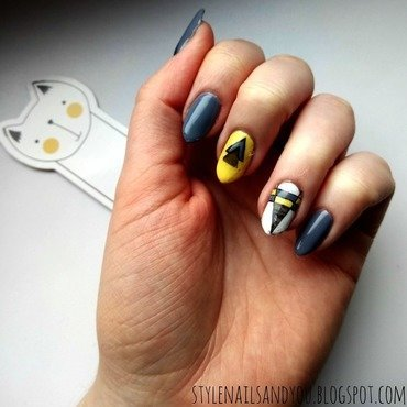 Geometric Yellow nail art by StyleNailsAndYou