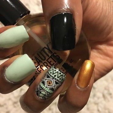 Aztec-tastic nail art by Chloe Jay