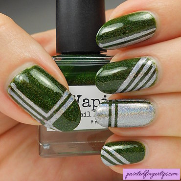 Green and silver striping nail art by Kerry_Fingertips