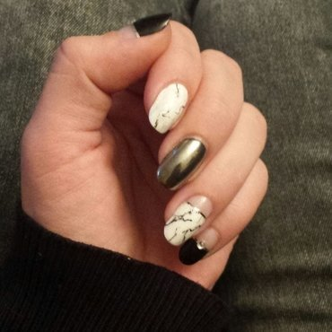 marble nails with chrome accent & rhinestones nail art by mariejane