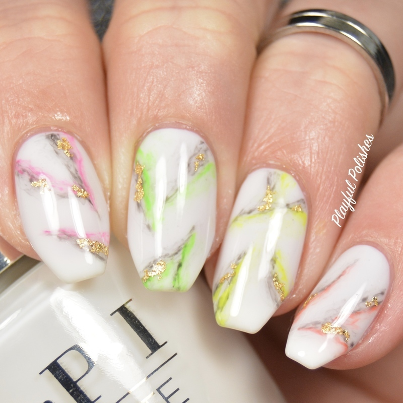 Rainbow Marble Nails nail art by Playful Polishes