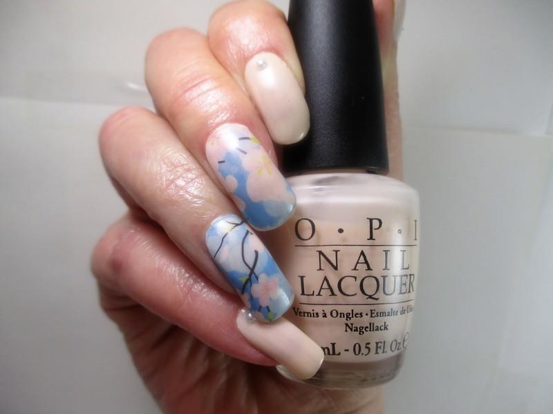 Pale Petals & Pearls nail art by NinaB