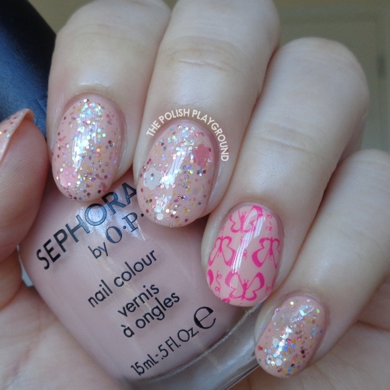 Pink Glitter Layering with Butterfly Stamping Accent nail art by Lisa N