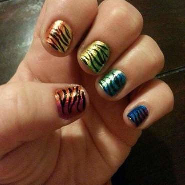 Rainbow Zebra Stripes nail art by Lera Michelle Williamson