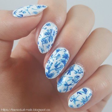 Blue and White Pottery Inspired Nails nail art by Shirley X.