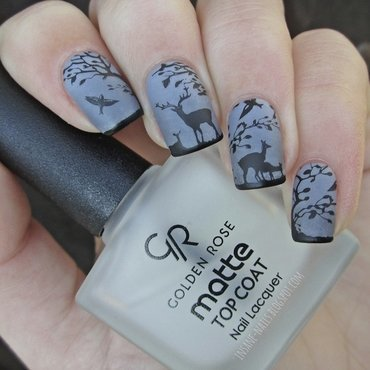 Deer in the fog nail art by Sanela