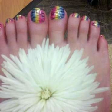 Rainbow Zebra Toes nail art by Nickiznailz