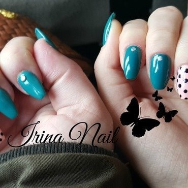 Turquoise manicure nail art by Irina Nail