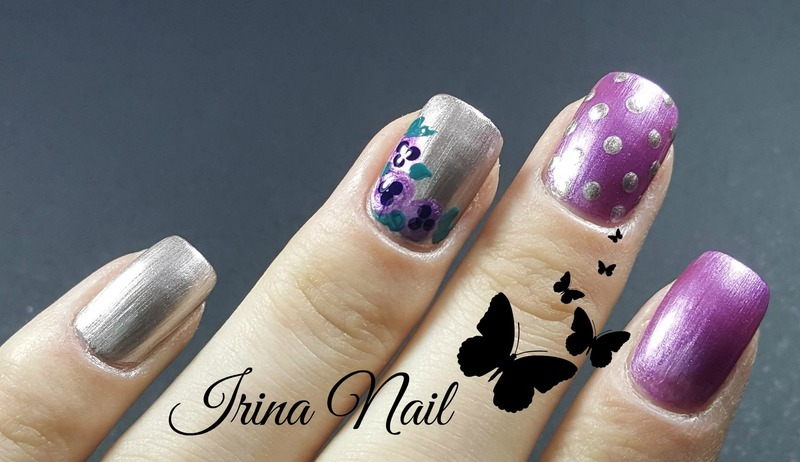 Purple flower nails nail art by Irina Nail