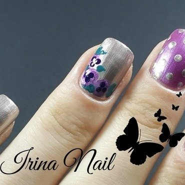 Purple flower nails nail art by Irina Nail