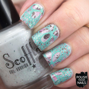 Grey pink distressed teal floral lace recreation nail art 4 thumb370f