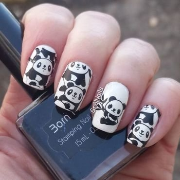 Panda nail art by Gr8Nails