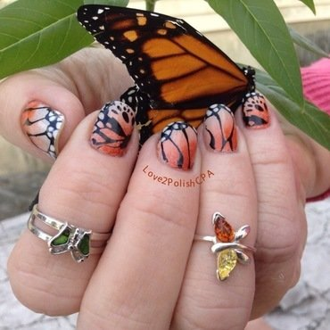 The Beauty of Monarch Butterflies  nail art by Marilynn M Schroeder