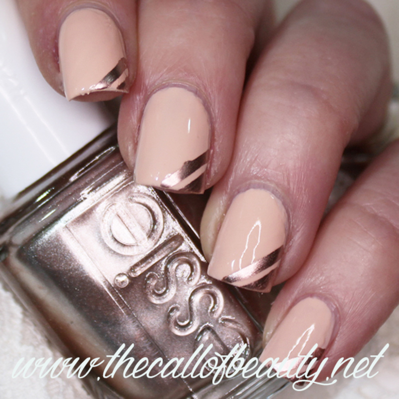 Peach and Rose Gold Tape Mani nail art by The Call of Beauty