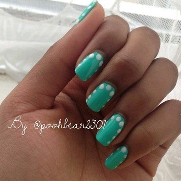 Simple Green Nails With White Dots nail art by PoohBear2301