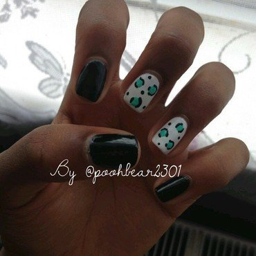 Green Leopard Print nail art by PoohBear2301