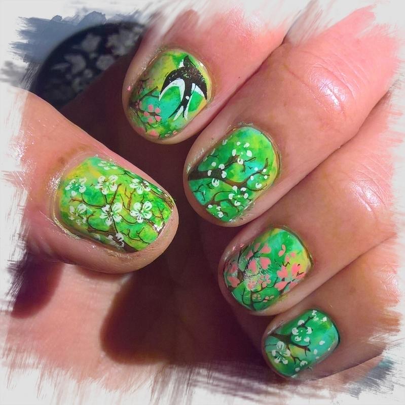 Spring Landscape over #smooshynailsunday  nail art by Avesur Europa