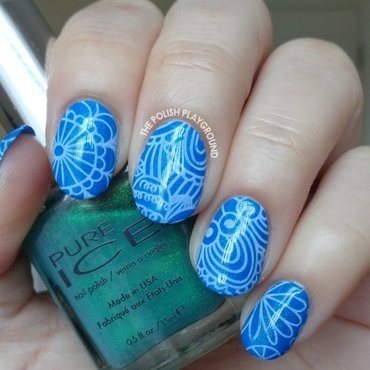 Blue Shimmer with White Abstract Stamping nail art by Lisa N