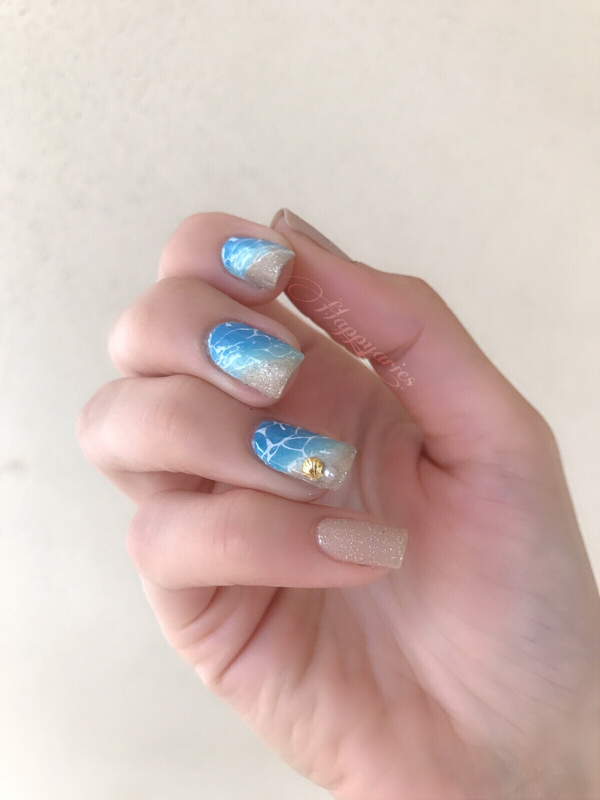 Sand and ocean  nail art by Happy_aries
