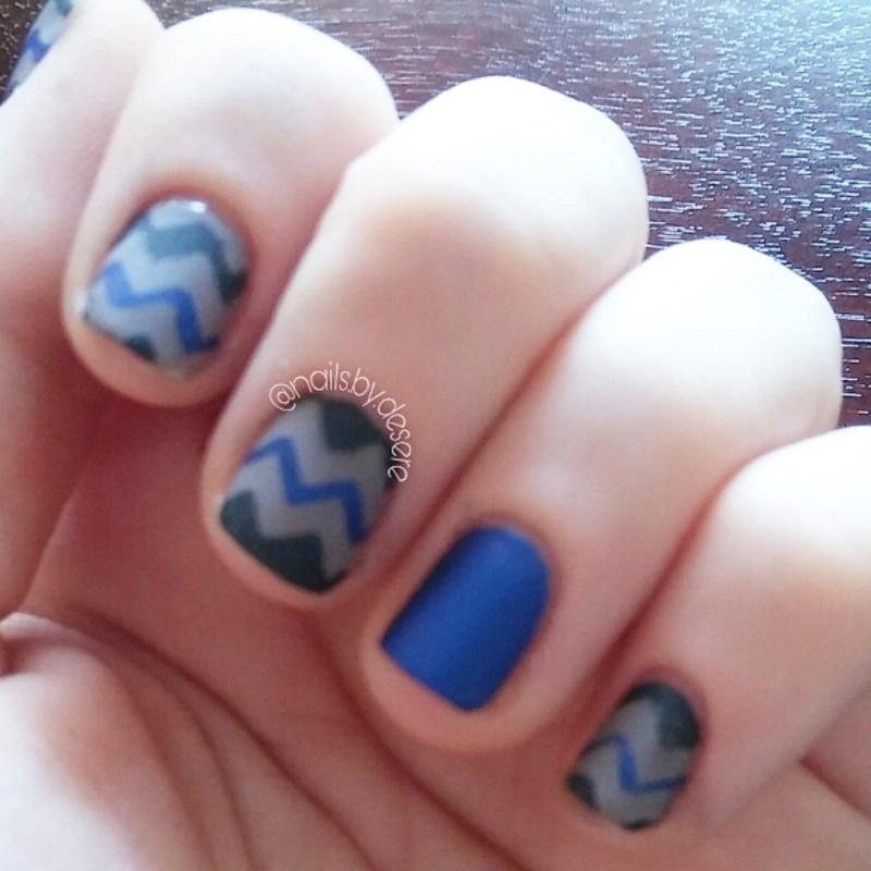 Thin Blue Line nail art by Desere Olson