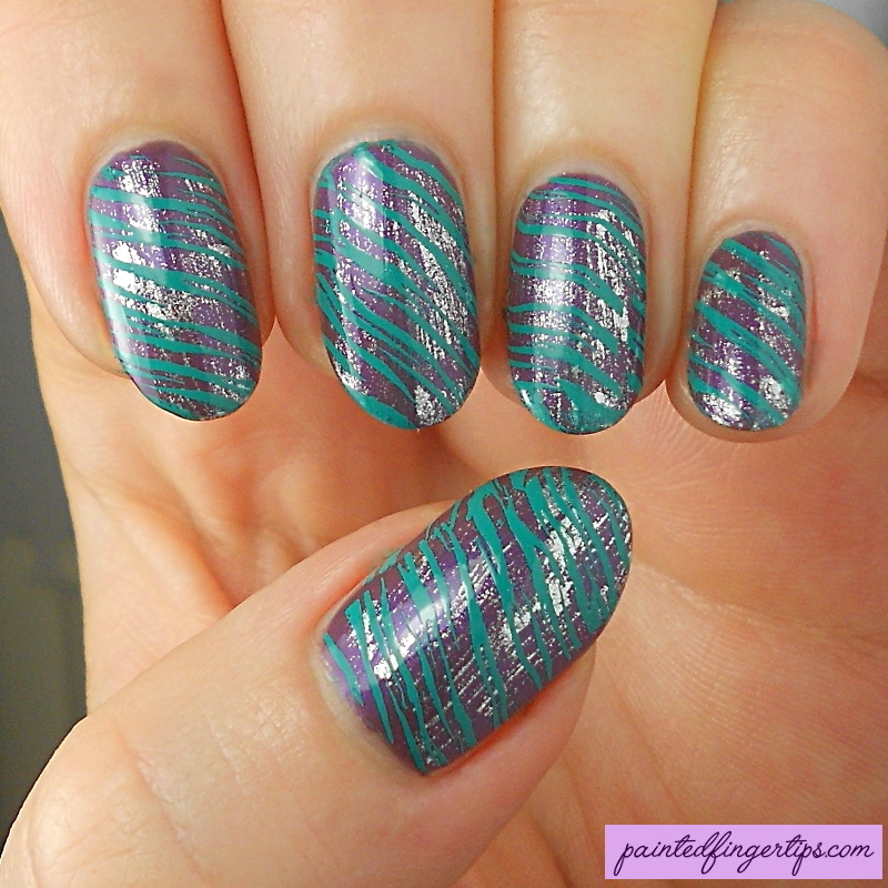 Distressed and stamped nails nail art by Kerry_Fingertips