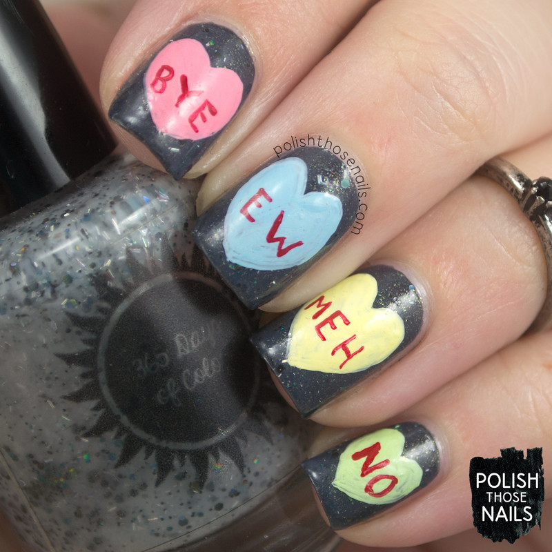 Moody Conversation Hearts nail art by Marisa  Cavanaugh