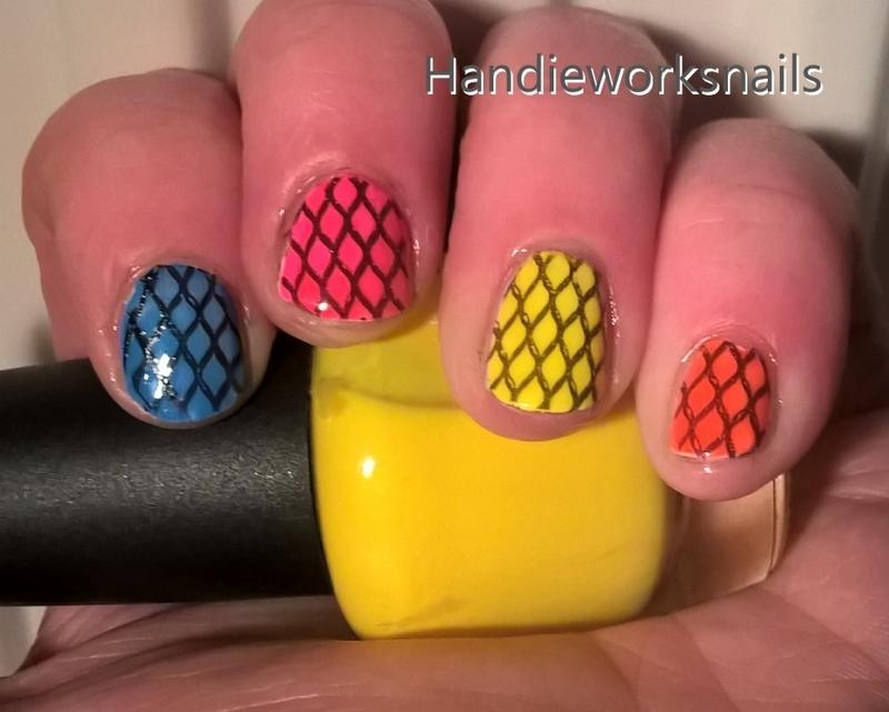Neon Fishnets nail art by Sazjay