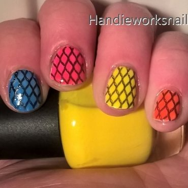 Neon Fishnets nail art by Sazjay