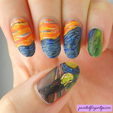 Munch the scream nail art thumb370f