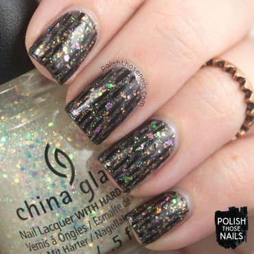 Black sparkle glitter subtle line pattern nail art 4 thumb370f