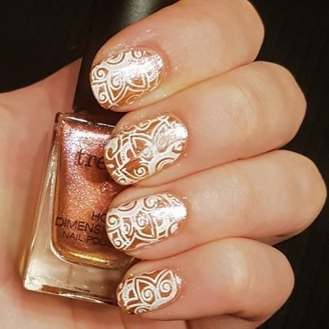 Orange lace nails nail art by Aurora Klančar