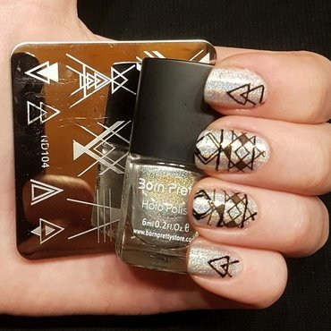Holographic nails nail art by Aurora Klančar