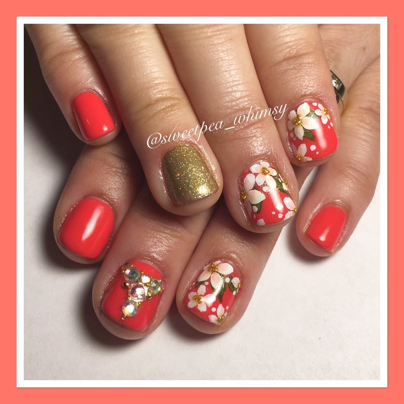 Deep Coral & Blossoms nail art by SweetPea_Whimsy