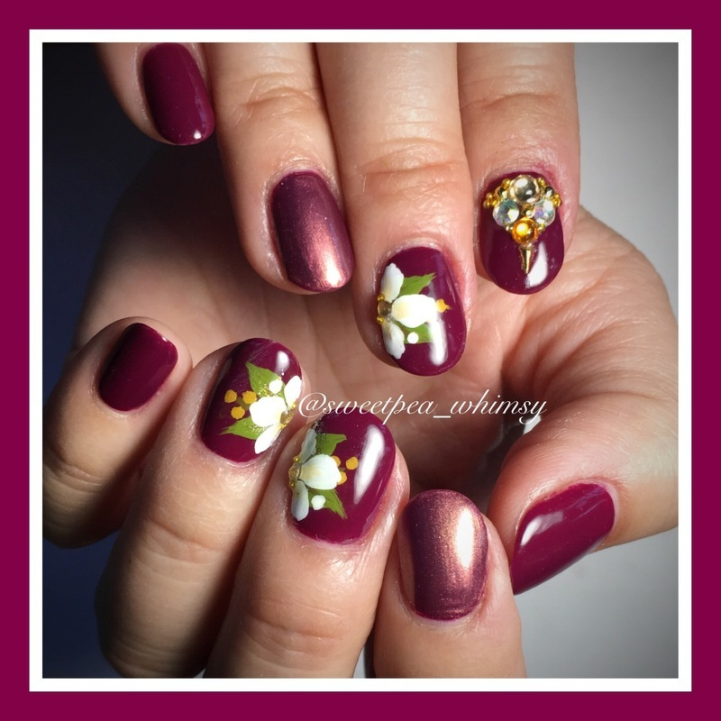 Plum, Rust & Floral nail art by SweetPea_Whimsy