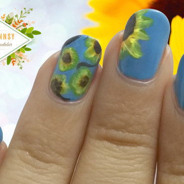 Sunflower Nail Art  nail art by madjennsy Nail Art
